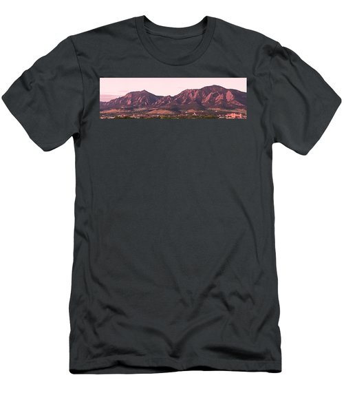 Boulder Colorado Flatirons 1st Light Panorama Men's T-Shirt (Athletic Fit)