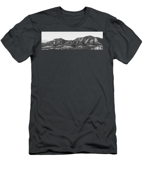 Boulder Colorado Flatirons And Cu Campus Panorama Bw Men's T-Shirt (Athletic Fit)