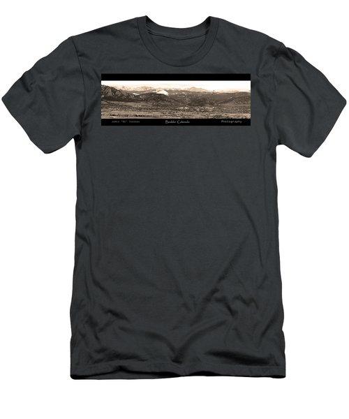 Boulder Colorado Sepia Panorama Poster Print Men's T-Shirt (Athletic Fit)