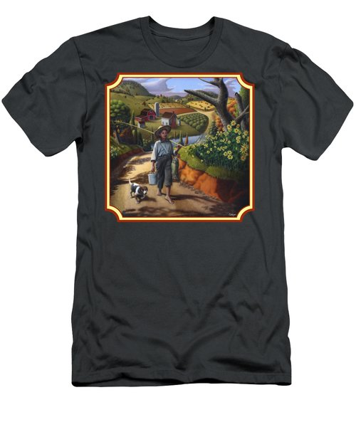 Boy And Dog Country Farm Life Landscape - Square Format Men's T-Shirt (Athletic Fit)
