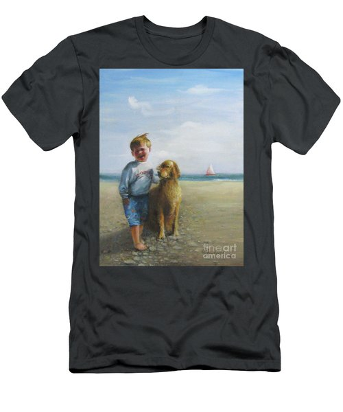 Boy And His Dog At The Beach Men's T-Shirt (Athletic Fit)