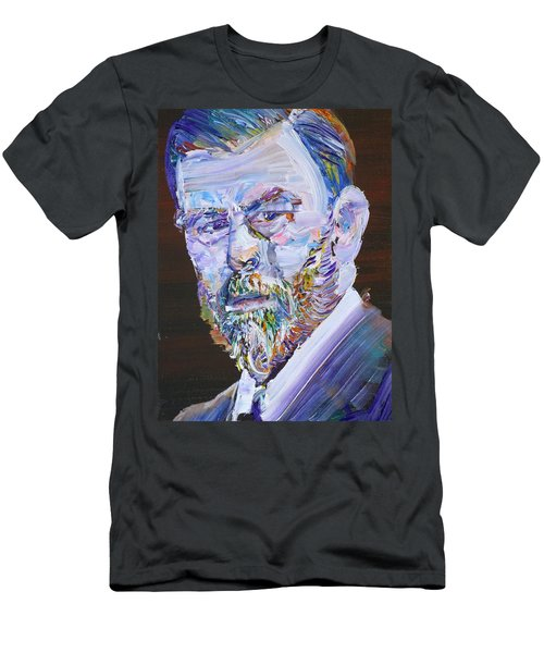 Men's T-Shirt (Slim Fit) featuring the painting Bram Stoker - Oil Portrait by Fabrizio Cassetta