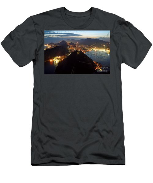 Men's T-Shirt (Athletic Fit) featuring the photograph Brasil,rio De Janeiro,pao De Acucar,viewpoint,panoramic View,copacabana At Night by Juergen Held