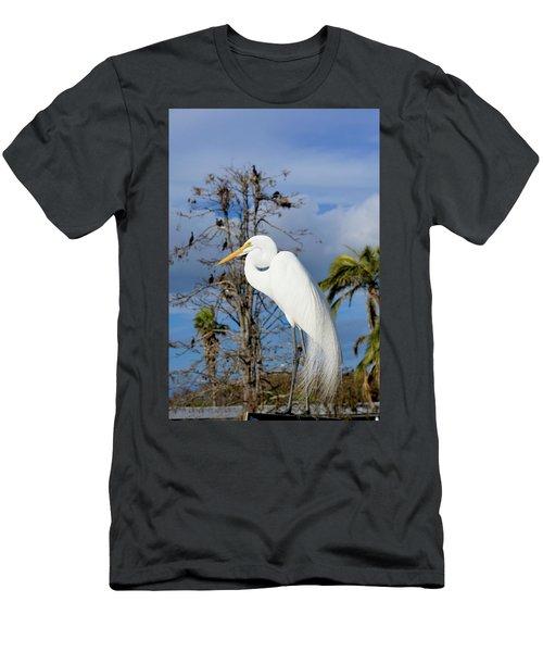 Breezy Egret Men's T-Shirt (Slim Fit) by Josy Cue