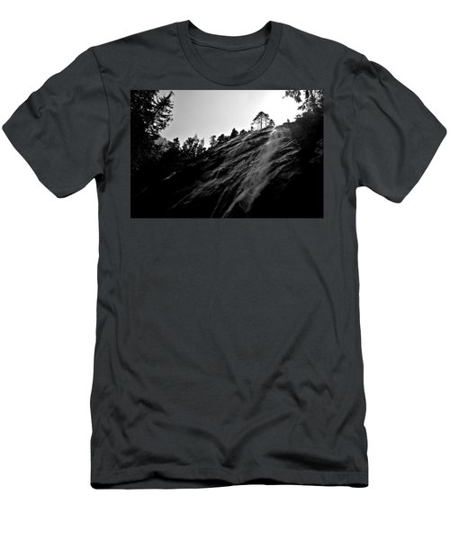 Bridal Veil Falls In Black And White Men's T-Shirt (Athletic Fit)