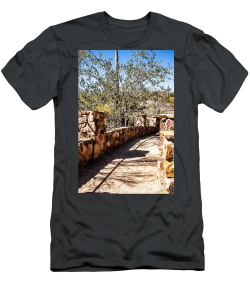 Men's T-Shirt (Slim Fit) featuring the photograph Bridge Over Desert Wash by Lawrence Burry