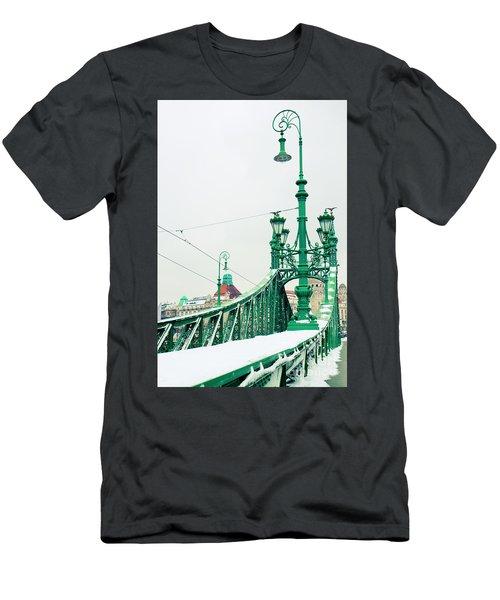 Bridge Of Liberty In Budapest Men's T-Shirt (Slim Fit) by Anastasy Yarmolovich