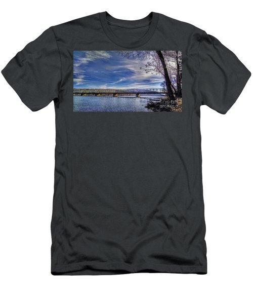 Bridge Over The Delaware River In Winter Men's T-Shirt (Athletic Fit)