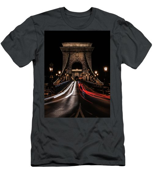 Bridges Of Budapest - Chain Bridge Men's T-Shirt (Slim Fit) by Jaroslaw Blaminsky