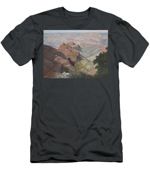 Bright Angel Trail Looking North To Plateau Point, Grand Canyon Men's T-Shirt (Slim Fit) by Barbara Barber