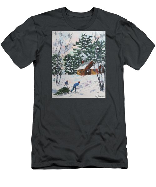 Bringing In The Tree Men's T-Shirt (Slim Fit) by David Gilmore