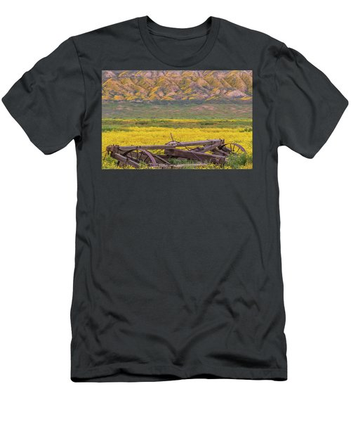 Men's T-Shirt (Slim Fit) featuring the photograph Broken Wagon In A Field Of Flowers by Marc Crumpler