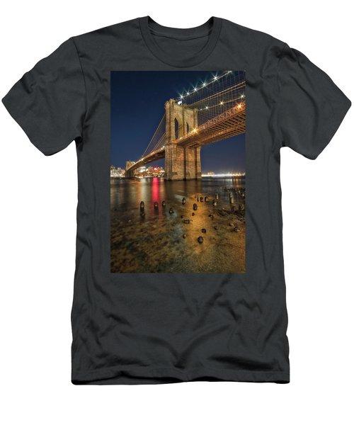 Brooklyn Bridge At Night Men's T-Shirt (Athletic Fit)