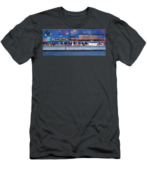 Brooklyn Bridge Fireworks Men's T-Shirt (Athletic Fit)