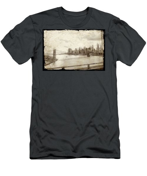 Men's T-Shirt (Athletic Fit) featuring the painting Brooklyn Bridge by Joan Reese