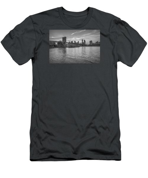 Men's T-Shirt (Slim Fit) featuring the photograph Brooklyn Bridge Monochrome by Scott McGuire
