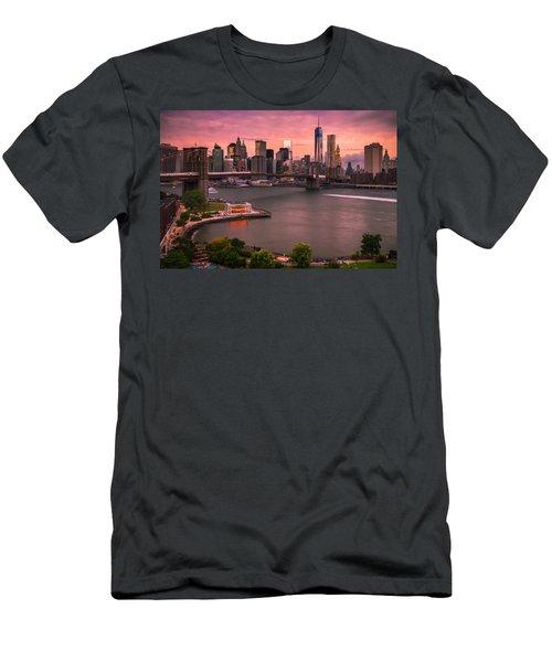 Brooklyn Bridge Over New York Skyline At Sunset Men's T-Shirt (Slim Fit) by Ranjay Mitra
