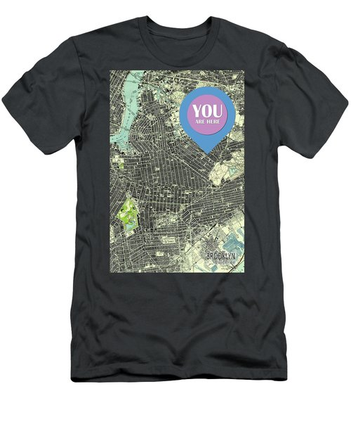 Brooklyn New York 1947 Old Map You Are Here Men's T-Shirt (Athletic Fit)