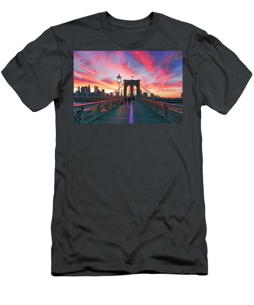 Brooklyn Sunset Men's T-Shirt (Slim Fit) by Rick Berk