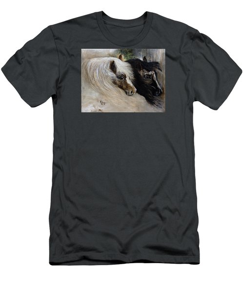 Men's T-Shirt (Slim Fit) featuring the painting Brothers by Barbie Batson