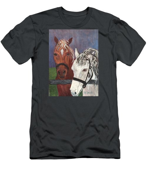 Brown And White Horses Men's T-Shirt (Athletic Fit)