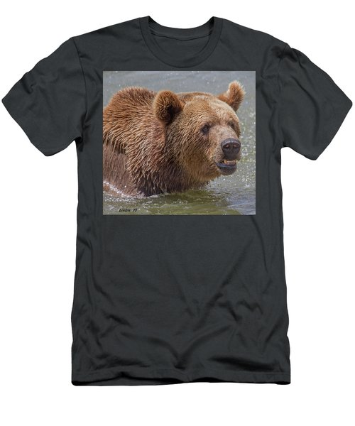 Men's T-Shirt (Athletic Fit) featuring the photograph Brown Bear 10 by Larry Linton
