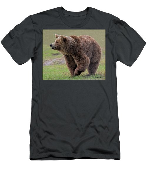 Men's T-Shirt (Athletic Fit) featuring the digital art Brown Bear 14.5 by Larry Linton
