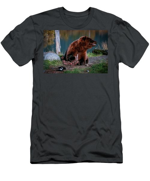 Brown Bear And Magpie Men's T-Shirt (Athletic Fit)