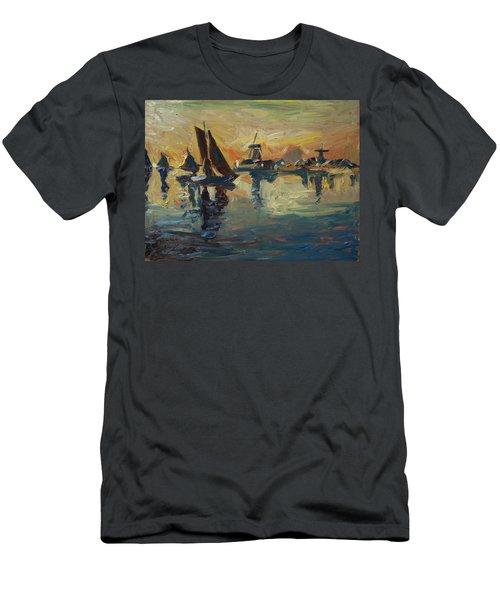 Brown Fleet On The Zaan Men's T-Shirt (Slim Fit) by Nop Briex