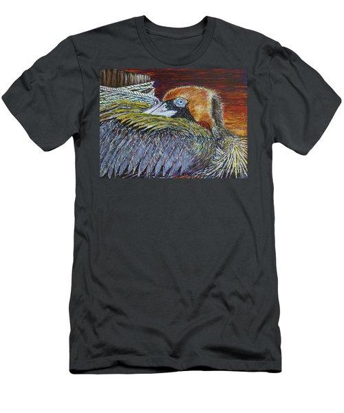 Brown Pelican Men's T-Shirt (Slim Fit) by David Joyner