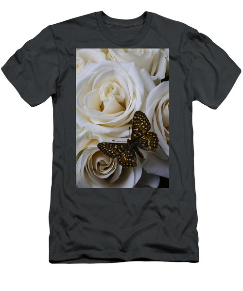 Brown Spotted Butterfly Men's T-Shirt (Athletic Fit)