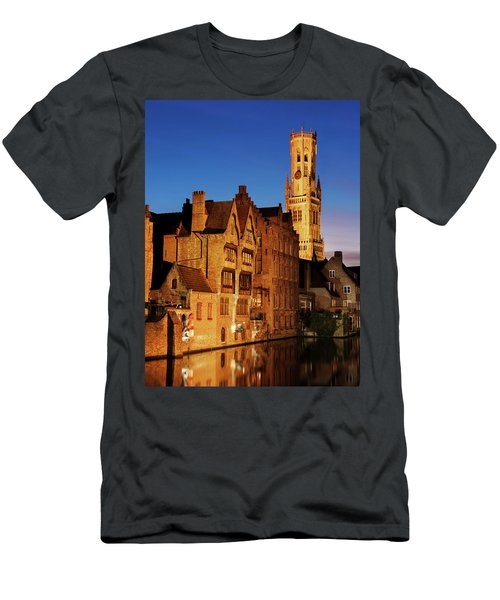 Bruges Belfry At Night Men's T-Shirt (Athletic Fit)