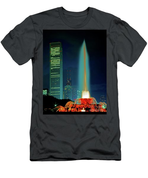 Men's T-Shirt (Athletic Fit) featuring the photograph Buckingham Fountain  Chicago Landmark by Tom Jelen