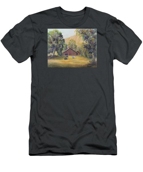 Men's T-Shirt (Slim Fit) featuring the painting Bucks County Pa Barn by Luczay