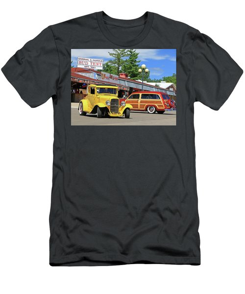 Men's T-Shirt (Slim Fit) featuring the photograph Bud Tent Hot Rods by Christopher McKenzie
