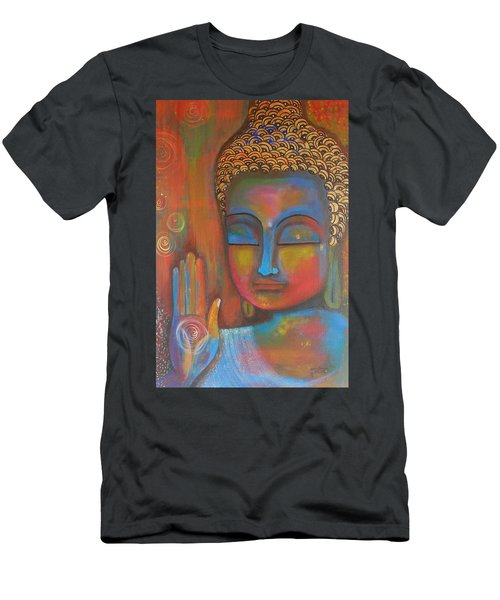 Men's T-Shirt (Slim Fit) featuring the painting Buddha Blessings by Prerna Poojara