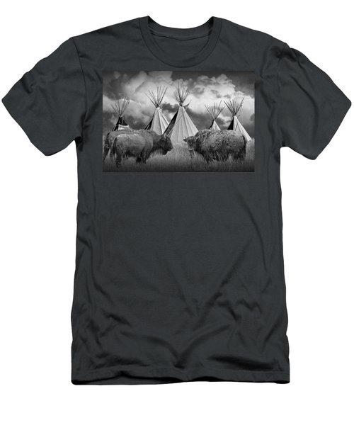 Buffalo Herd Among Teepees Of The Blackfoot Tribe Men's T-Shirt (Athletic Fit)