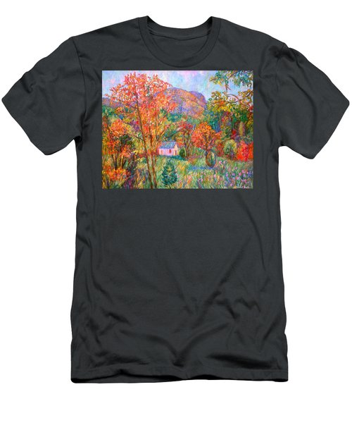 Men's T-Shirt (Slim Fit) featuring the painting Buffalo Mountain In Fall by Kendall Kessler