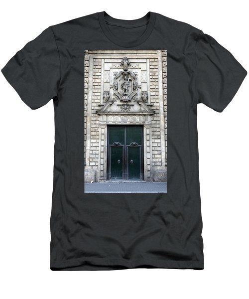 Building Artwork And Old Door In Barcelona Men's T-Shirt (Slim Fit) by Richard Rosenshein