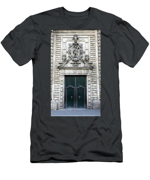 Building Artwork And Old Door In Barcelona Men's T-Shirt (Athletic Fit)