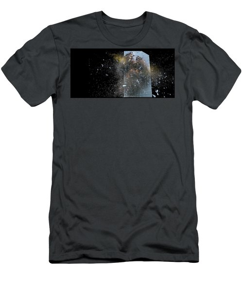 Men's T-Shirt (Athletic Fit) featuring the digital art Building_explosion by Marcia Kelly