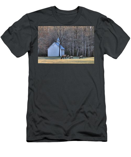 Bull Elk Attending Palmer Chapel  In The Great Smoky Mountains National Park Men's T-Shirt (Athletic Fit)