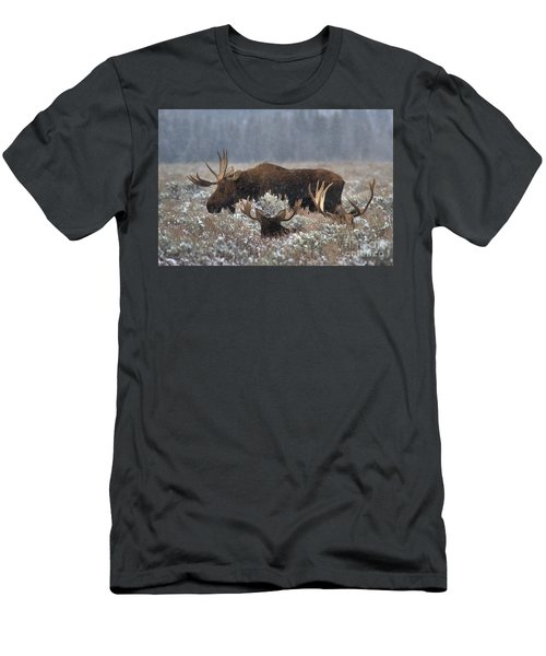 Men's T-Shirt (Slim Fit) featuring the photograph Bull Moose In The Snowy Meadow by Adam Jewell