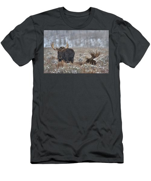 Men's T-Shirt (Slim Fit) featuring the photograph Bull Moose Winter Wandering by Adam Jewell