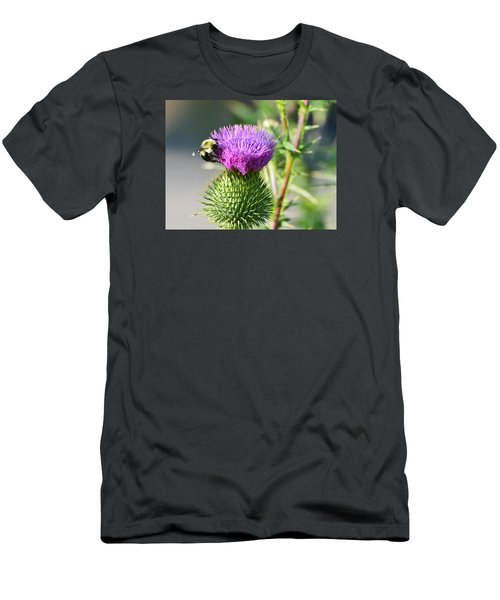 Men's T-Shirt (Slim Fit) featuring the photograph Bumble Bee And Purple Thistle  by Lyle Crump