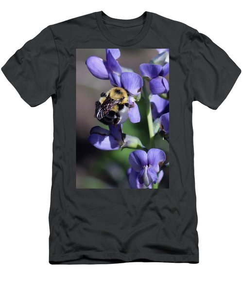 Bumble Bee, Blue Indigo Men's T-Shirt (Athletic Fit)