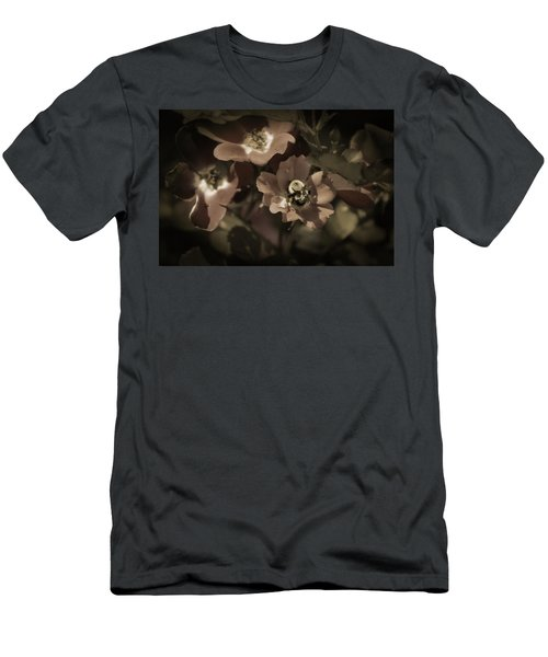 Bumblebee On Blush Country Rose In Sepia Tones Men's T-Shirt (Athletic Fit)