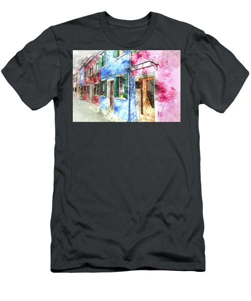 Burano Italy Buildings Men's T-Shirt (Athletic Fit)