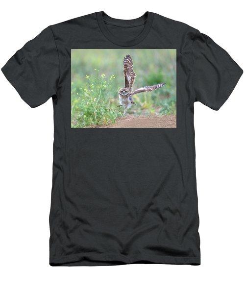 Burrowing Owl Spies Grasshopper Men's T-Shirt (Athletic Fit)