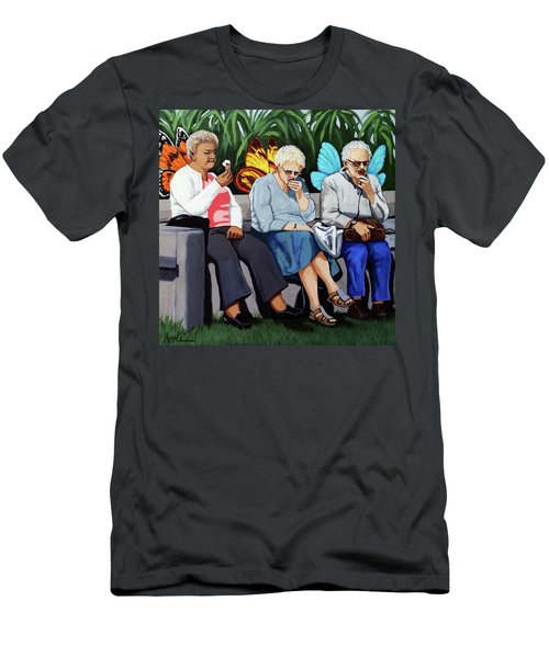 Men's T-Shirt (Slim Fit) featuring the painting Butterflies Like Ice Cream Too by Linda Apple